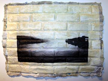 """Delaware Dawn"" collage on cast paper, 22x30"", $600"