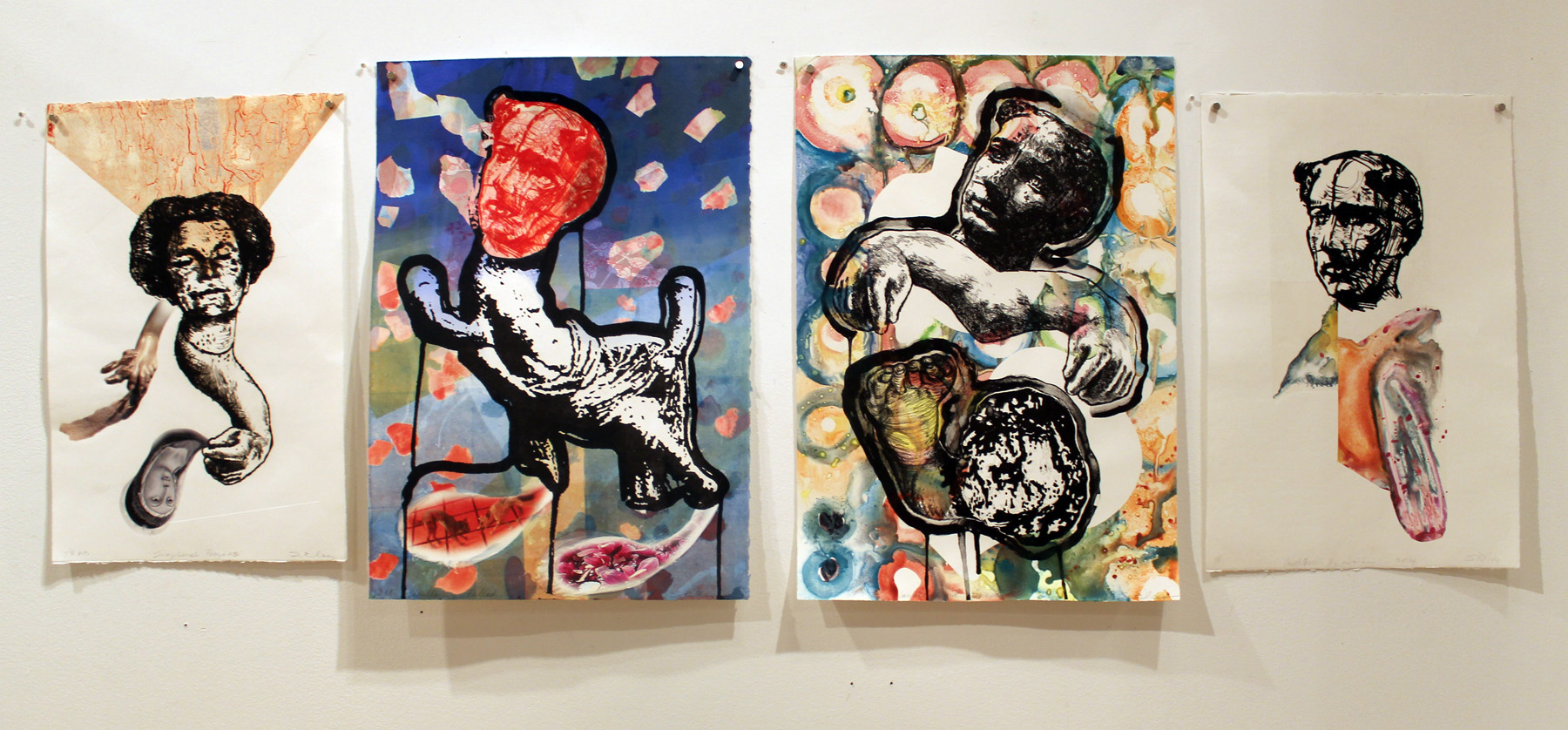 Photo of 4 mixed-media prints from the Camille Claudel Series on display at Viridian Artists.
