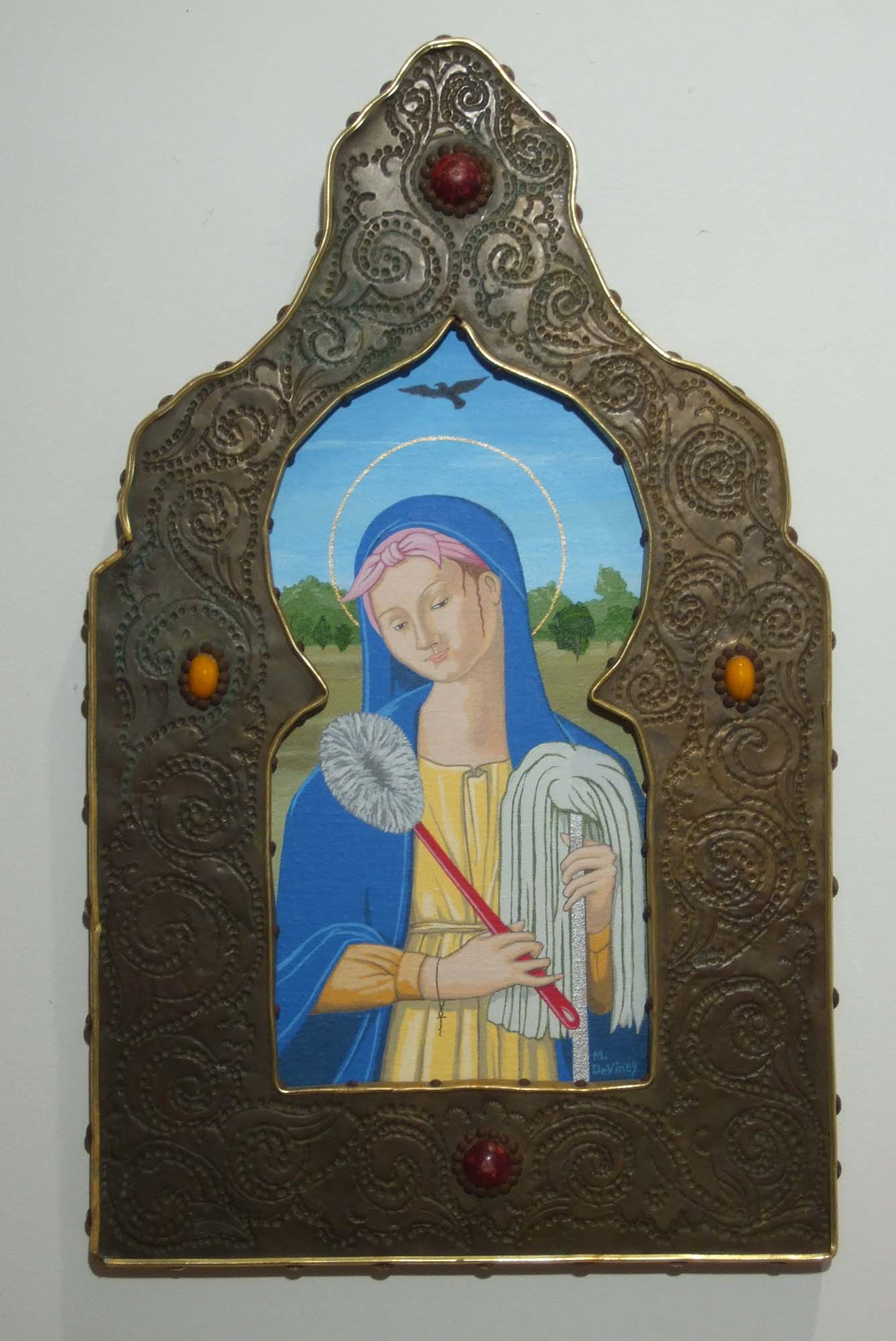 """Madonna of Eternal Drudgery"" Acrylic on Canvas over Wood, Found Frame, 20 x 12 inches,  $950"