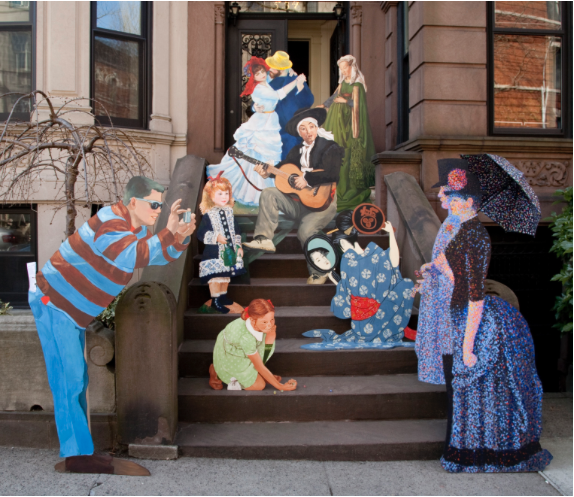 Life size painted wood cutouts posing on the steps of a Brooklyn brownstone