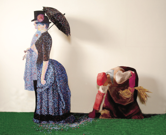 """QUE SERA SEURAT?"" Life size painted wood cutouts, faux grass, loose dots, umbrella"