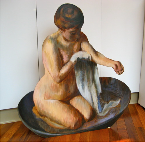 """AFTER DEGAS/WOMAN IN A TUB"", life size painted wood cutout,40"" H x 36"",  $5000.00"