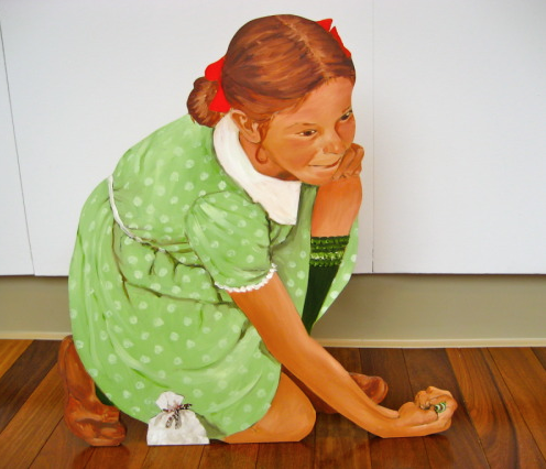 """AFTER ROCKWELL/MARBLES CHAMP"",  life size painted wood cutout, 23"" x 21"", $3000.00"