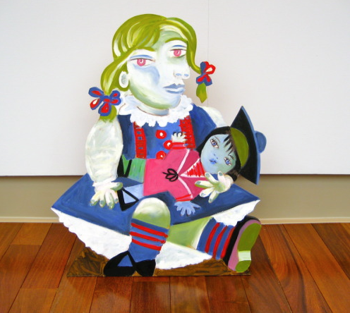 """AFTER PICASSO/MAYA WITH A DOLL"" life size painted wood cutout, 22"" x 18"", $3000.00"