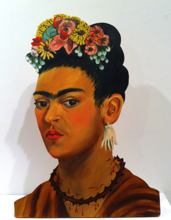 """AFTER KAHLO/ SELF PORTRAIT"", lifesize painted wood cutout based on a Kahlo, 16"" x 11"", $2000.00"