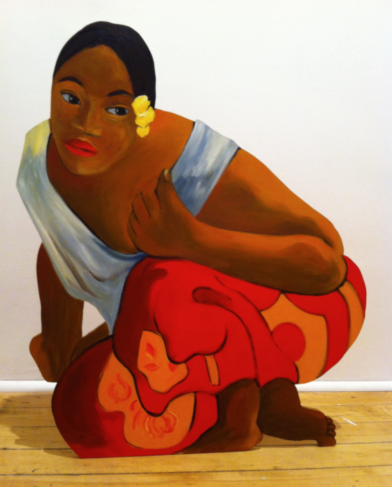 """AFTER GAUGUIN/NAFEA FAA IPPIPO"". lifesize painted wood cutout based on a Gauguin painting,  30"" x 25"", $4000.00"