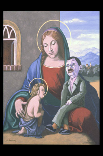 """The Virgin and Skippy with the Young St. John the Baptist"", Acrylic on Canvas over Wood,  Antique Metal Frame with Electric Lights,  14 x 12 inches (framed), $800"