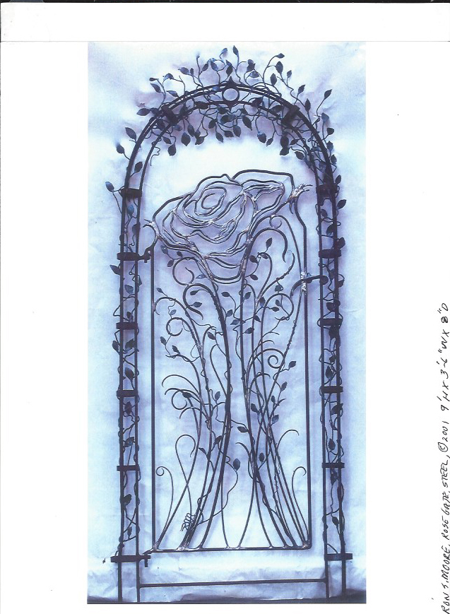 """Rose Gate"", 9'H x 3.5' W x 8"" D, Steel"