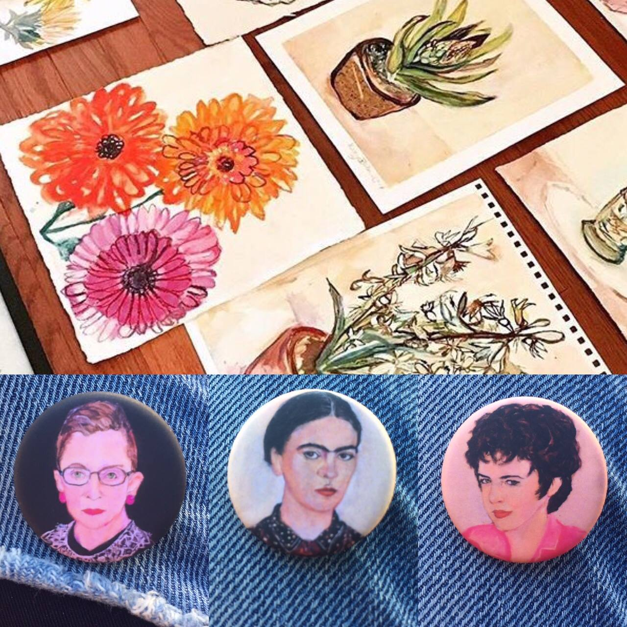 Jenny Belin's flower paintings and feminist pins.