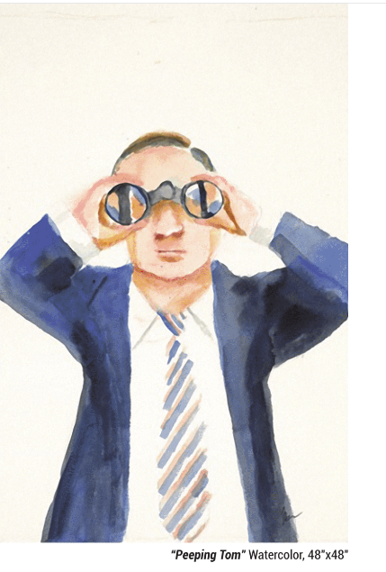 """Peeping Tom"" Watercolor, 48""x48"