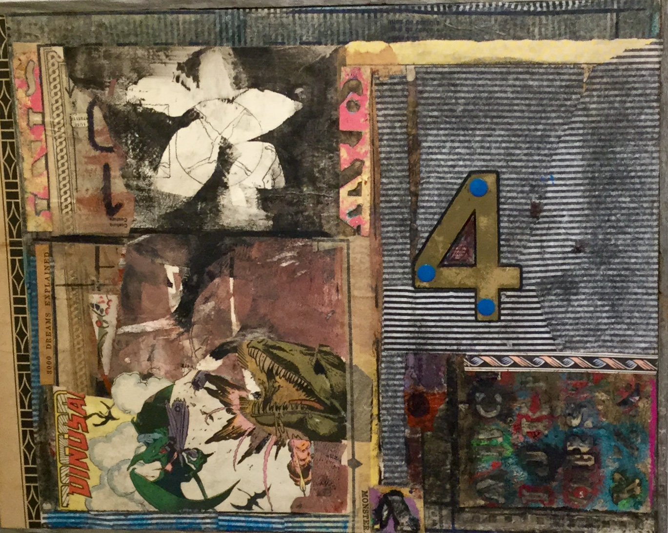 Monster Map 4, Collage--paper, comics, cold wax, $285
