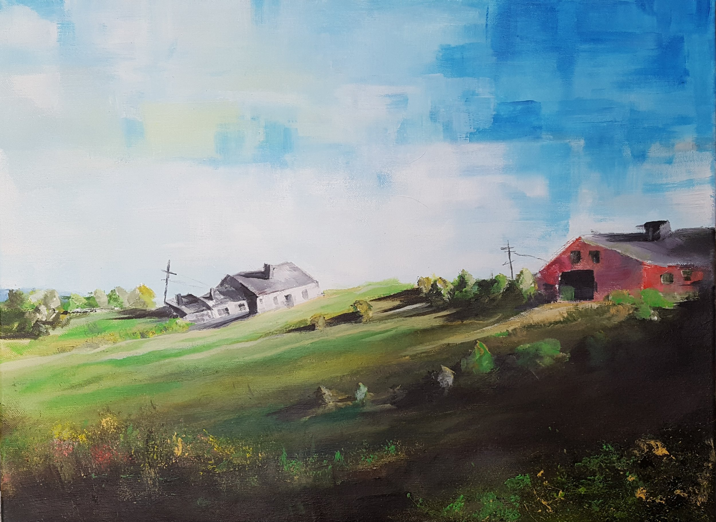 Witchtrot Farm, acrylic on canvas, 18 x 24, $800.
