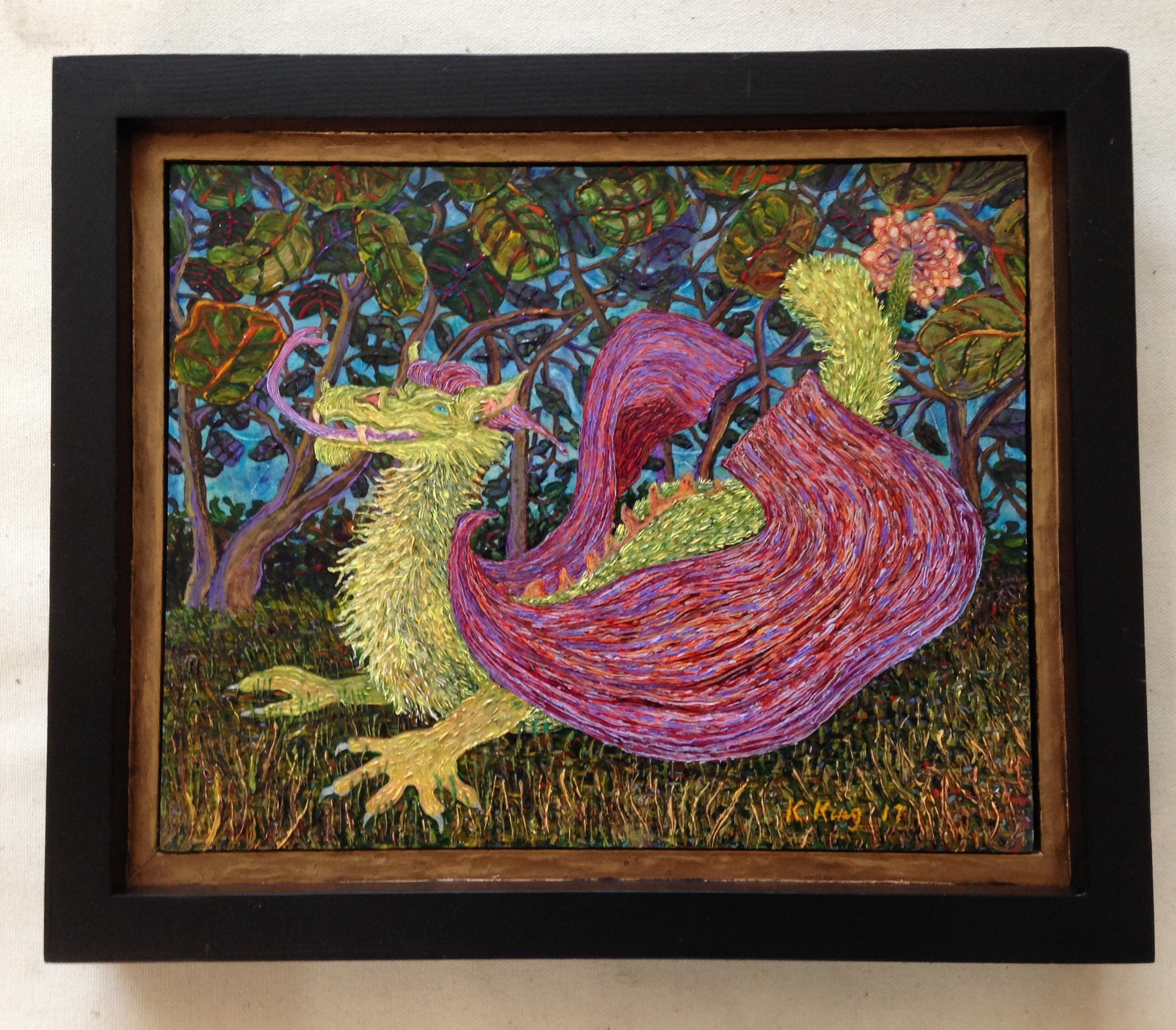 "'Little Grinning Dragon"" By Kathleen King: Oil over Acrylic on Board, 10.5"" x 12.25"" x 1.75"" (includes outer frame)"