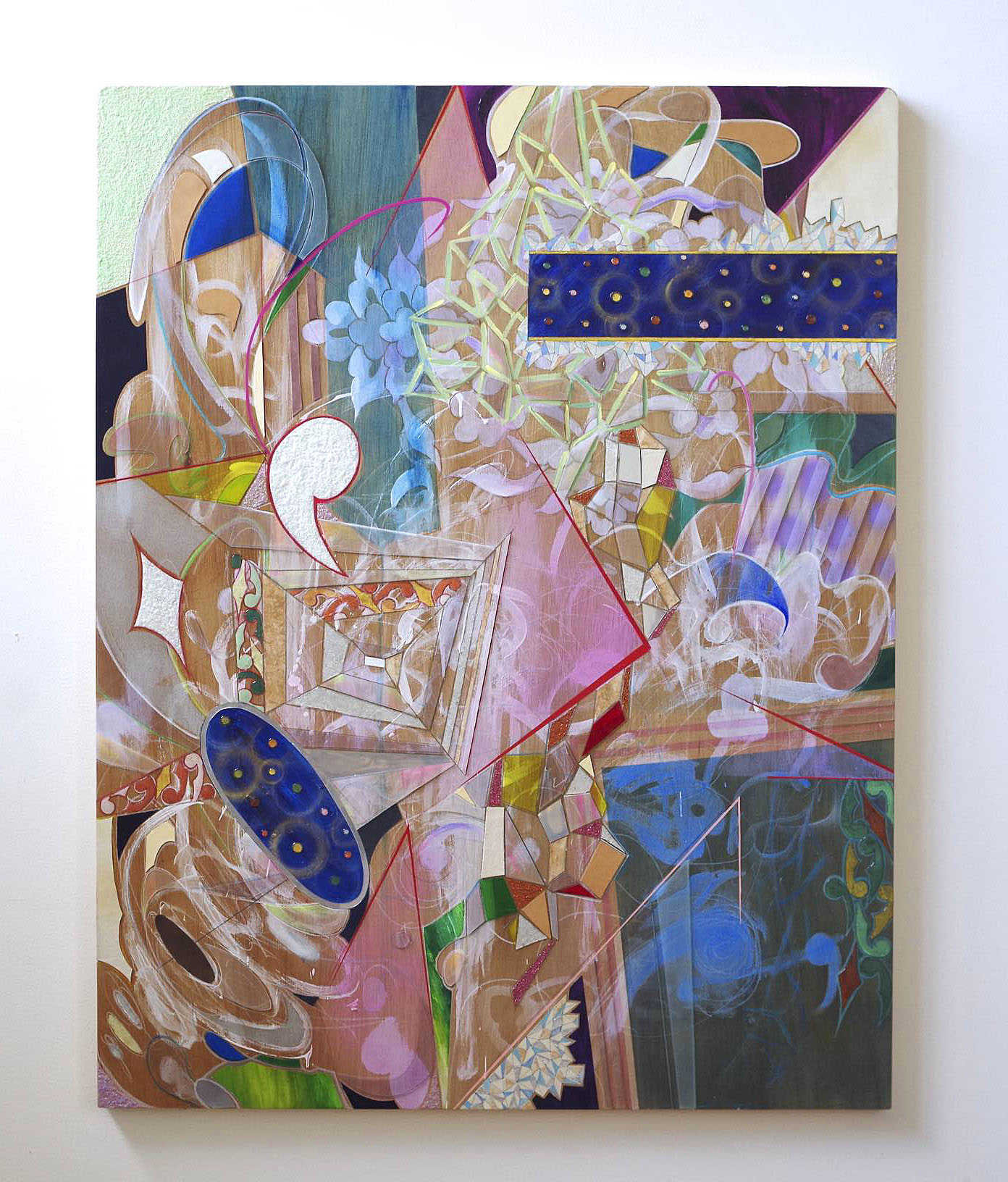 """""""Construction β"""", Mixed Media (on wood panel), 2016, 36 x 46 inches, $3,200."""