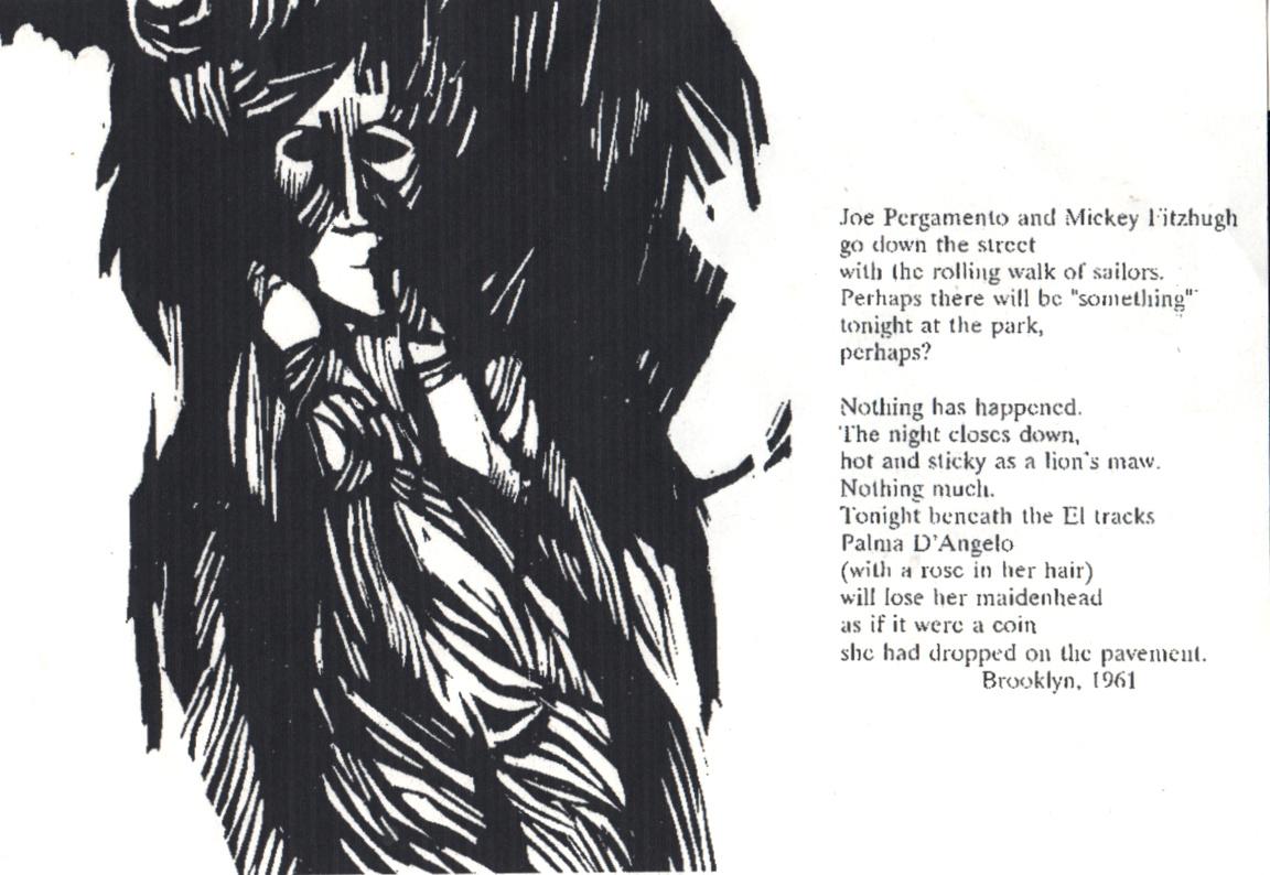 "Exiles: ""Joe Pergamento and Mickey FitzHugh…""  Woodcut 8"" x 11.5, 1961, NFS"