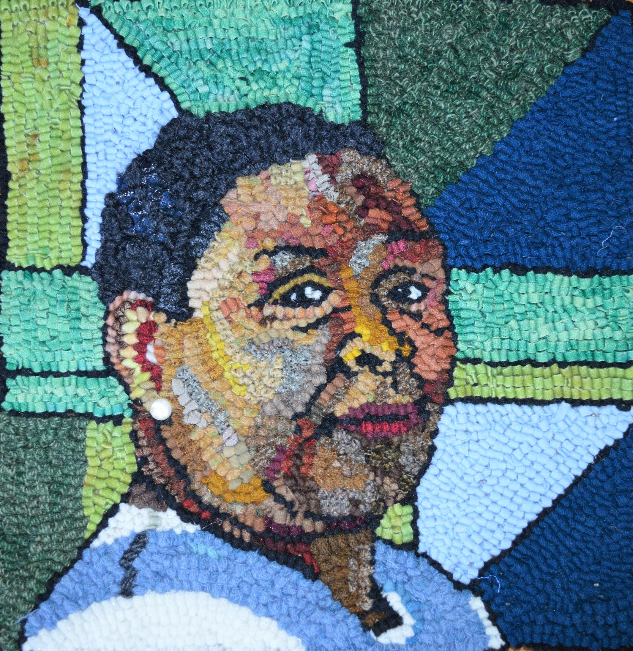 """Essie Bendolph Pettway, Gee's Bend Quilter"", textile, 15x15 inches"