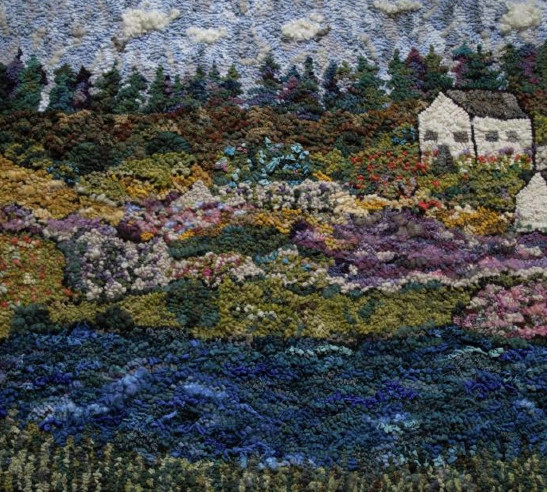 MARY TOOLEY PARKER,  HOUSE ON THE HILL  (2013), WOOL AND OTHER FIBERS ON LINEN, 30 X 33 INCHES