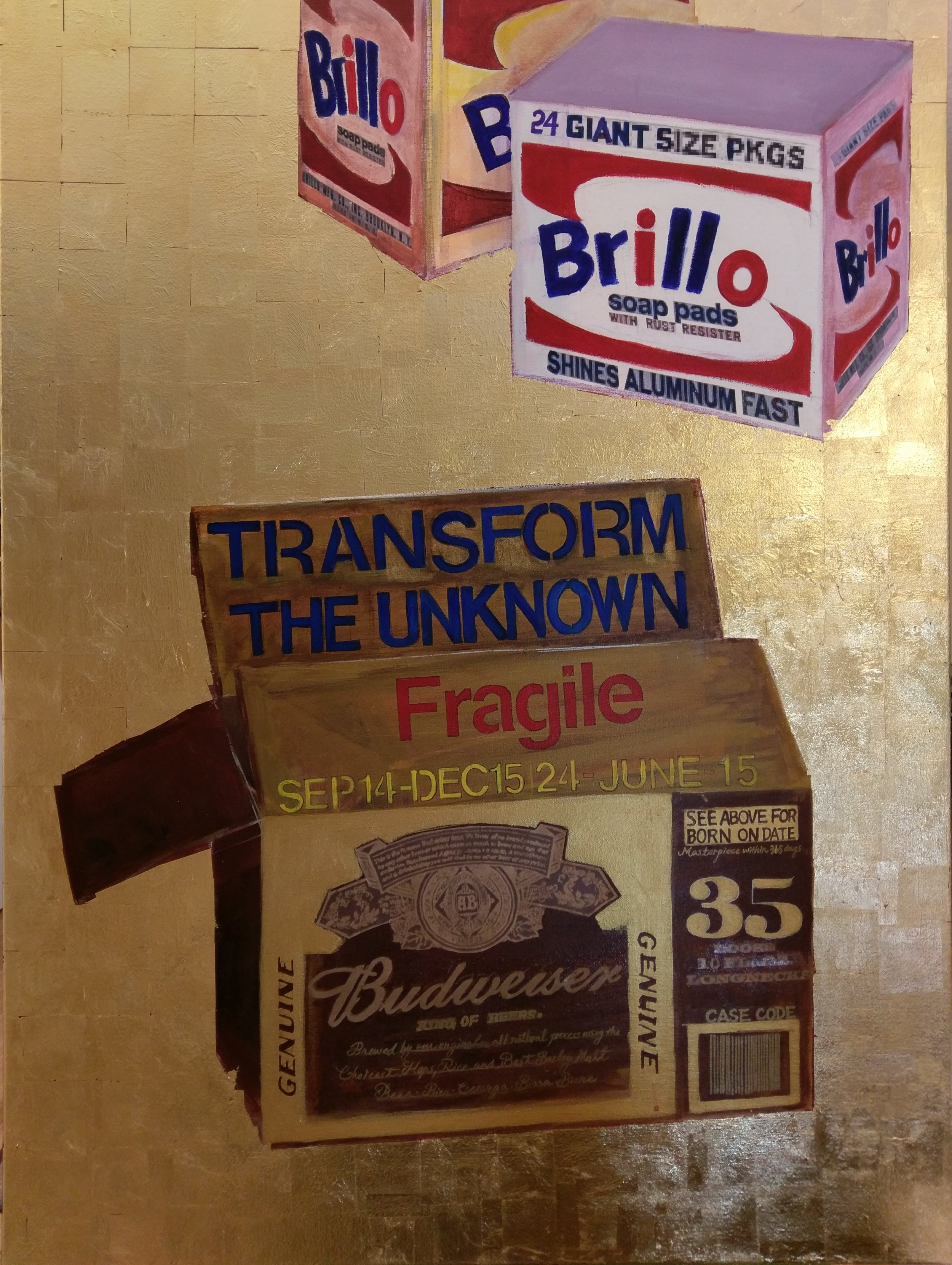 """""""Transform the Unknown: If Danh Vo were Andy Warhol"""". Oil and collage on canvas, 36"""" x 48"""", $4,800"""