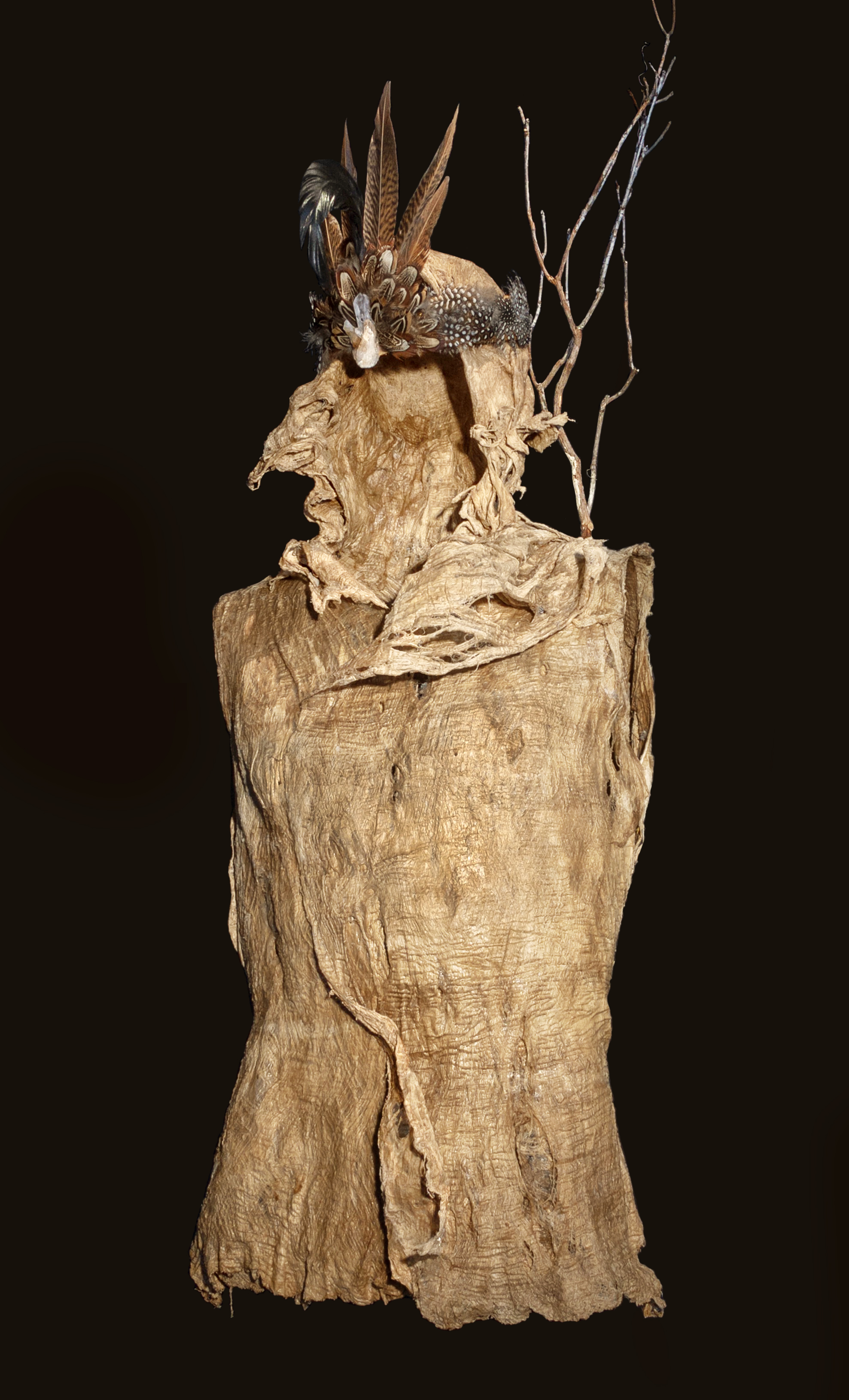 """SOCIAL WARRIORS: Call To Arms. """"FEARLESS"""",  2018, CAMBIUM FIBER FROM ASIAN MULBERRY TREE, QUAIL FEATHERS AND BRANCH, 43""""H x 17""""W x 15""""D, $2900"""