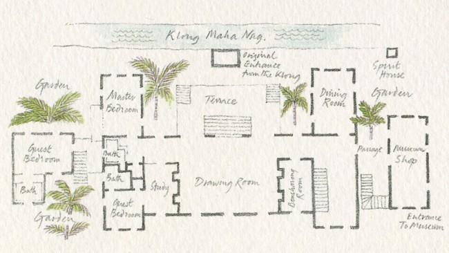 Jim Thompson's Bangkok home layout. Watercolour by Graham Byfield