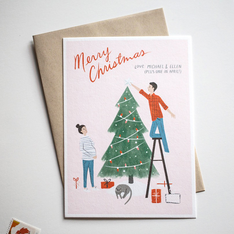 Personalized illustrated Christmas card