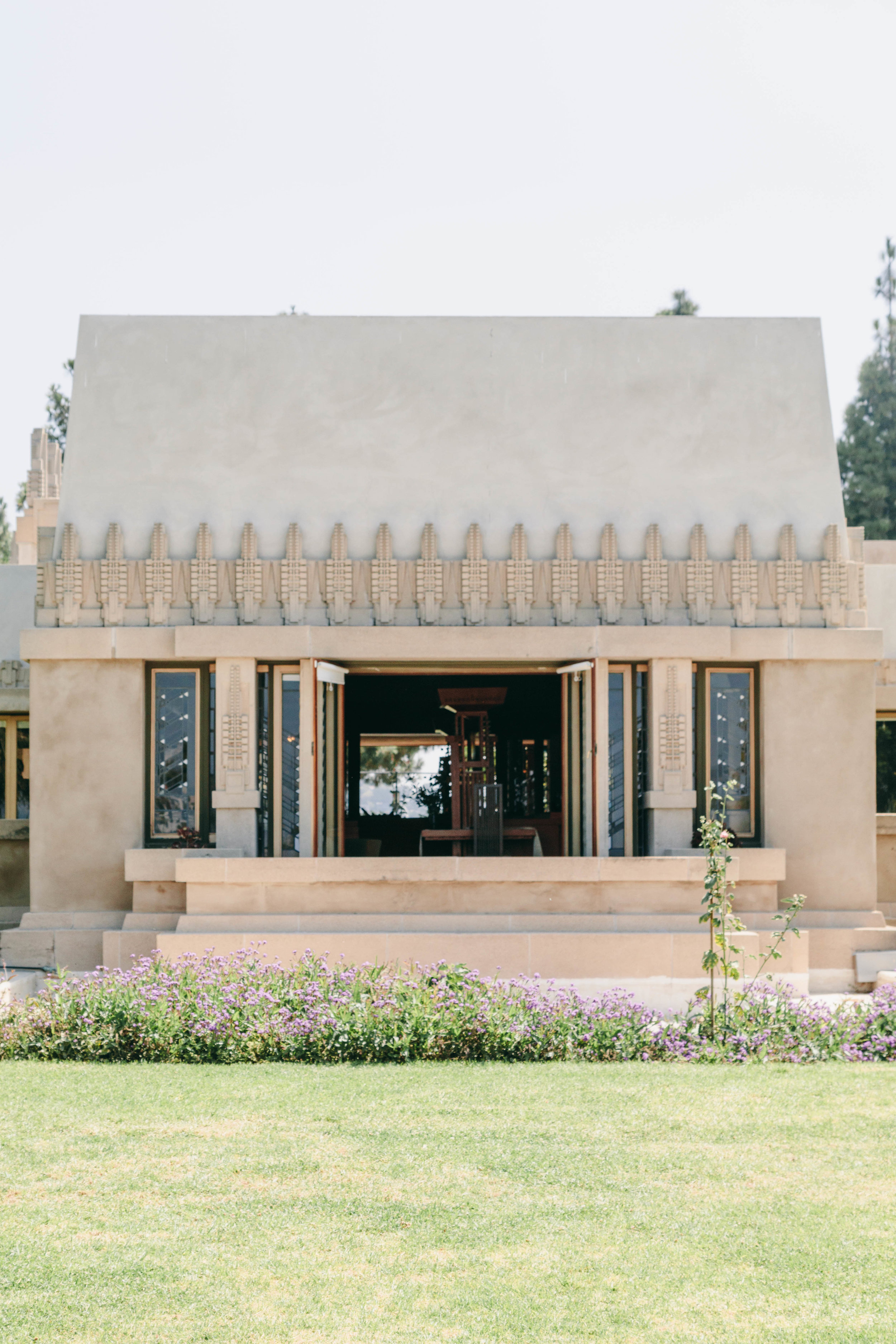 Frank Lloyd Wright's Hollyhock House in Los Angeles. This is the view of the main living area on the east-west axis of the house.