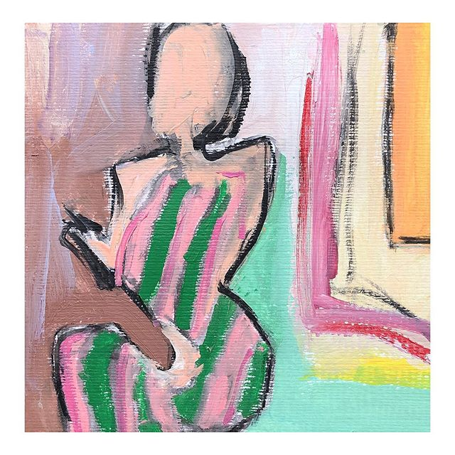 Green Striped Dress • 8x8 • oil, acrylic and charcoal on cold press paper • $95