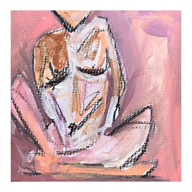 Woman Throwing Clay • 8x8 • oil, acrylic and charcoal on cold press paper • $95