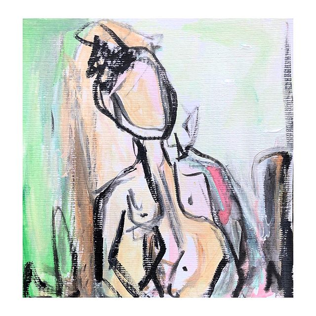 Figure no.1 • 8x8 • oil, acrylic and charcoal on cold press paper • $95