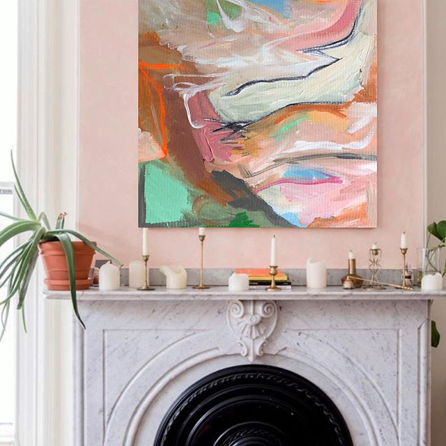 Everyone needs at least one pink wall and desert inspired art. #allisonhobbsart