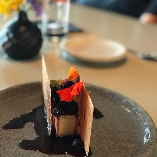 @tablexrestaurant having the #latesummerberries dessert.  Blueberries over a custard cake surrounded by crepe dentelle such a great meal tonight!