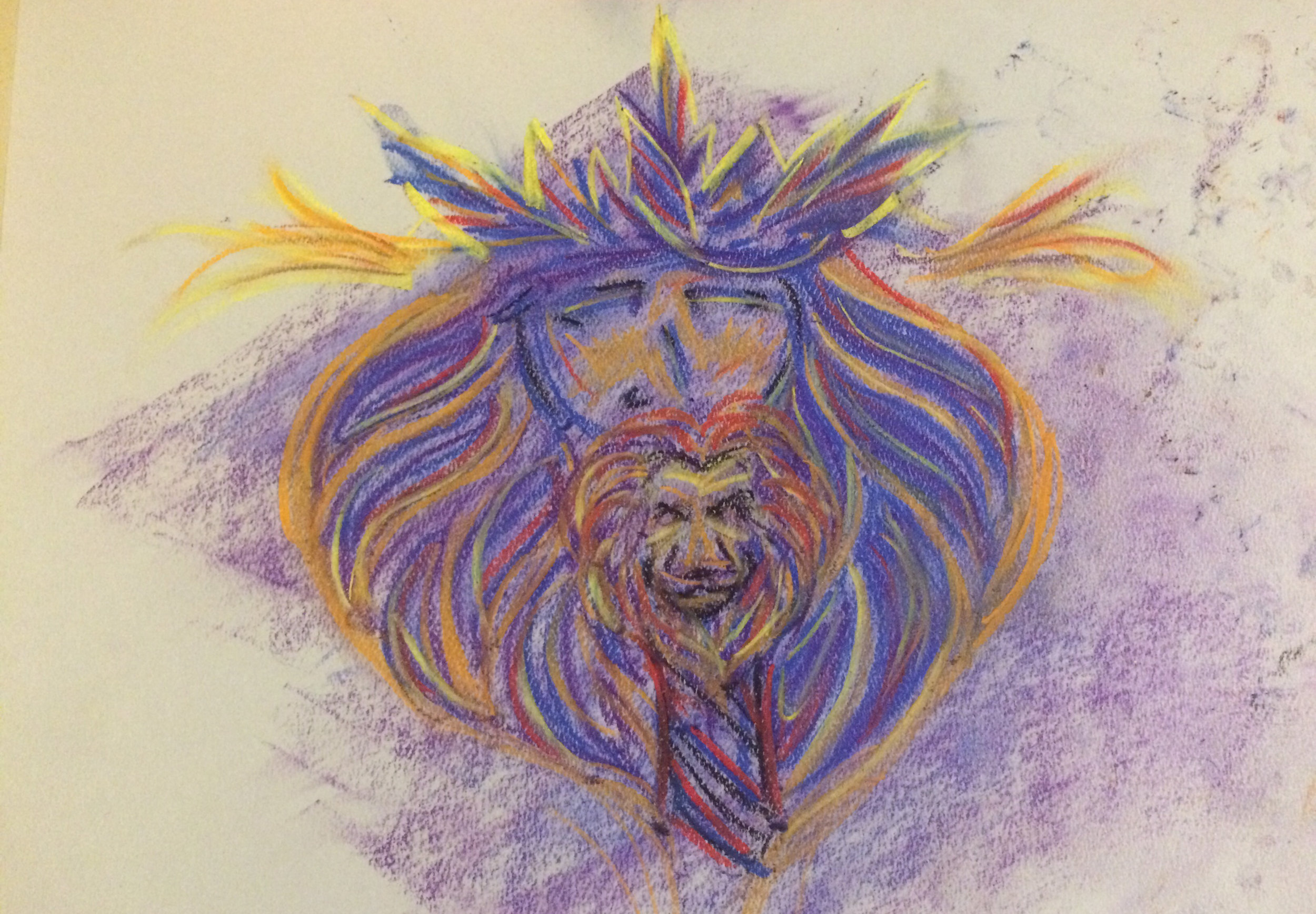 First draft of the pastel version of the warrior king drawing.