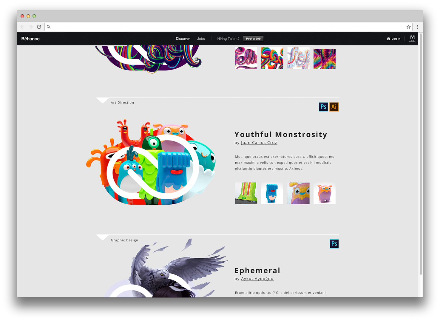 Behance Site: Every week, Adobe staff chooses a project from select creative fields and designs a TANGO logo with an article featuring the artist and their process