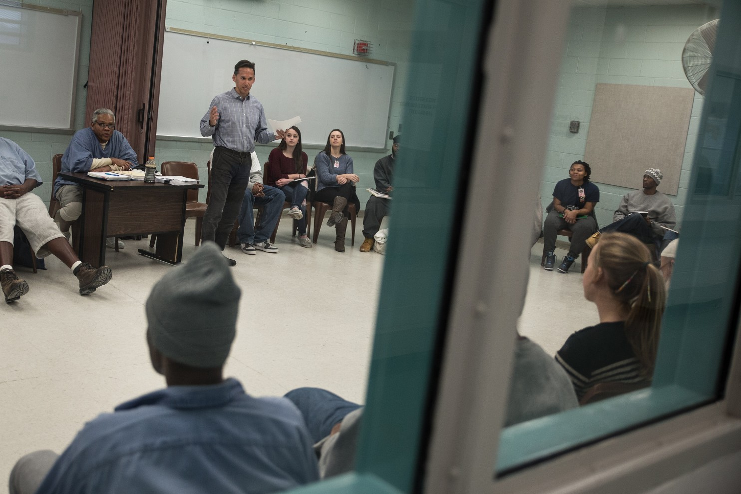 "Marc Howard with his Georgetown and Jessup students together, at the last  ""Prison Reform Project""  meeting, held at the Jessup Correctional Institution"