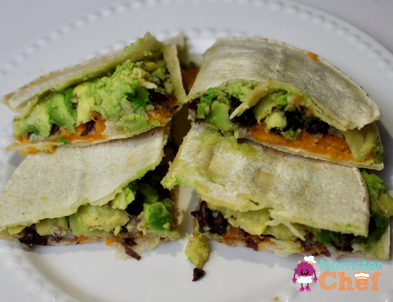 sweet potato black bean avocado quesadilla Nomster Chef_5 Healthy Lunches for Kid Chefs