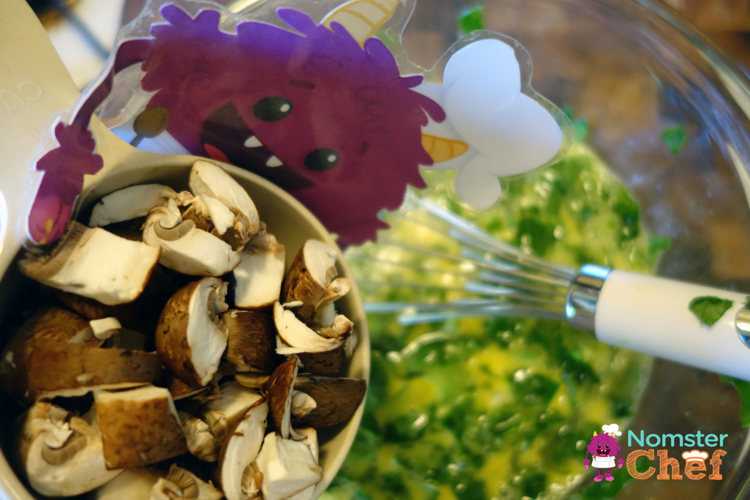 pouring mushrooms - Healthy Breakfast for Kids - Western Omelette Muffin -  Nomster Chef