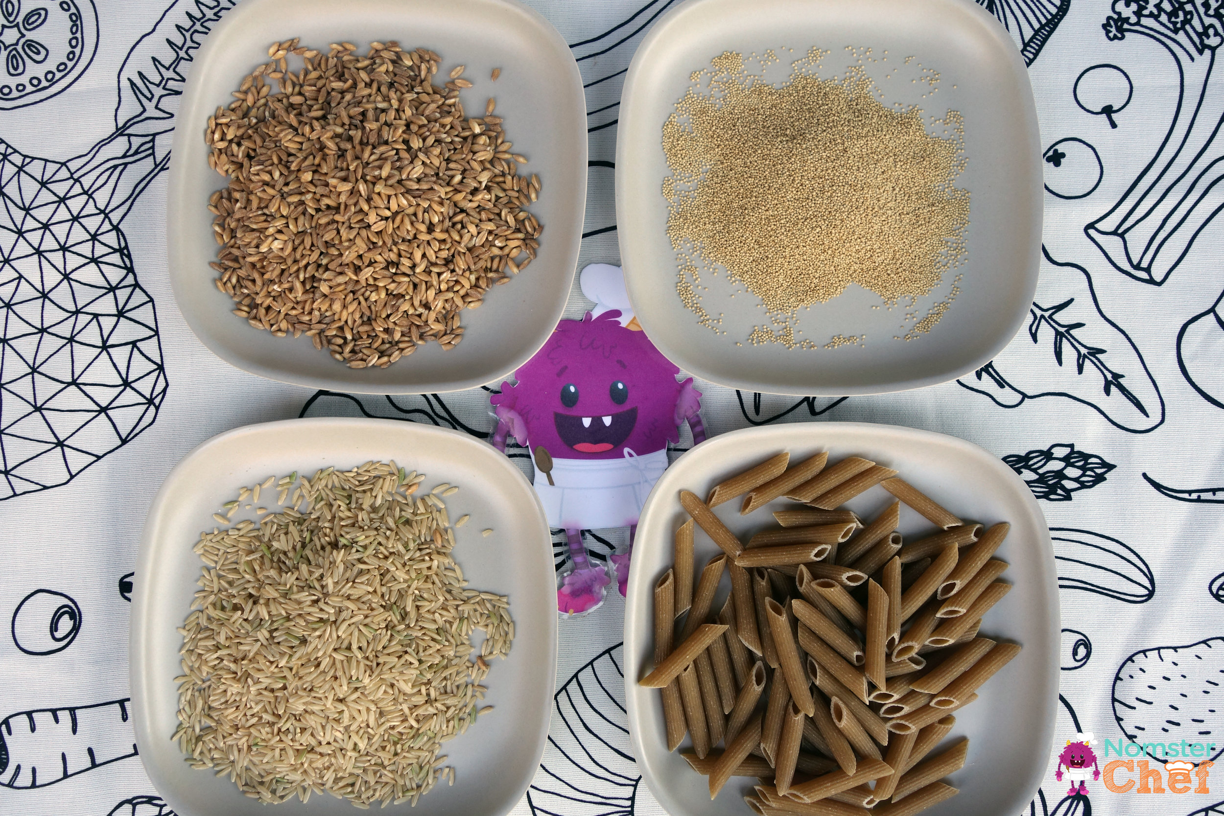 why-whole-grains-are-great-for-kids-nomster-chef-farro-amaranth-brown-rice-whole-wheat-pasta