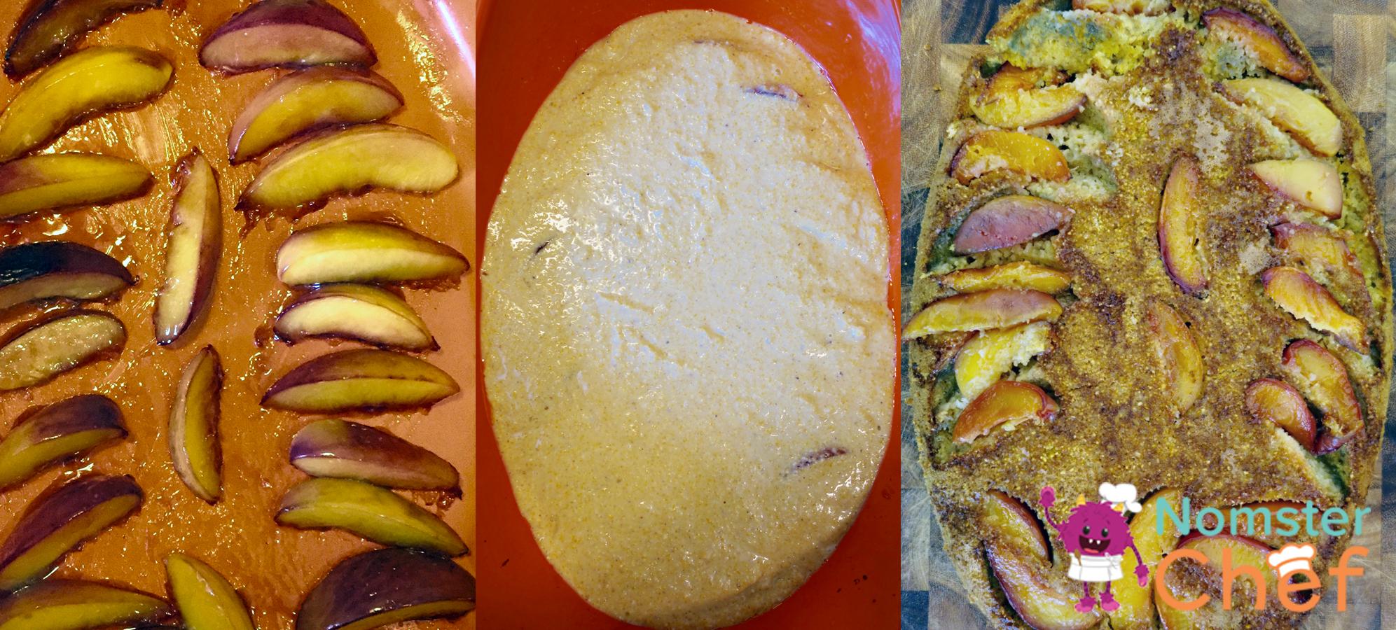 Nectarine Upside-Down Corn Cake - Nomster Chef Blog Recipe