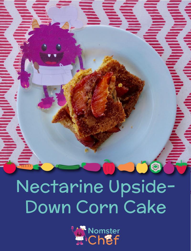 Nectarine Upside-Down Corn Cake - Nomster Chef