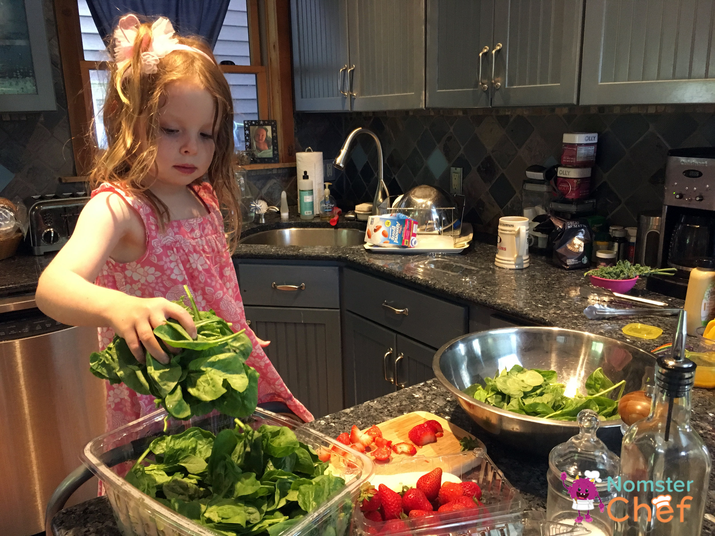 Placing ingredients in the bowl.