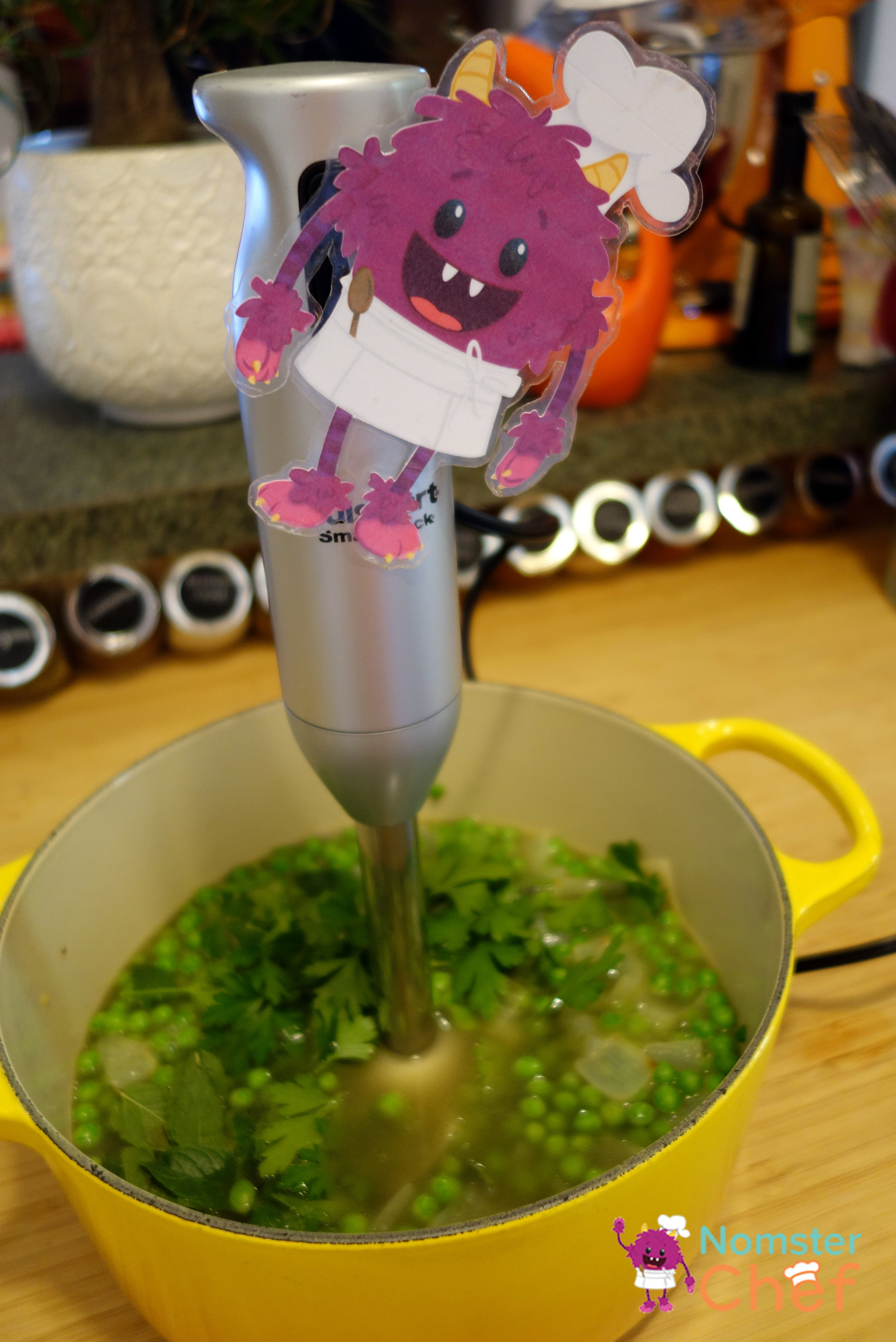 immersion blender- minty gazpacho soup-Nomster Chef