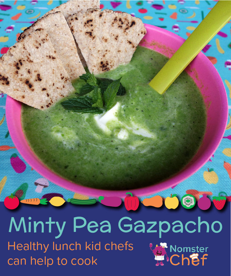 Minty Pea Gazpacho - healthy lunch kid chefs can help to cook - Nomster Chef