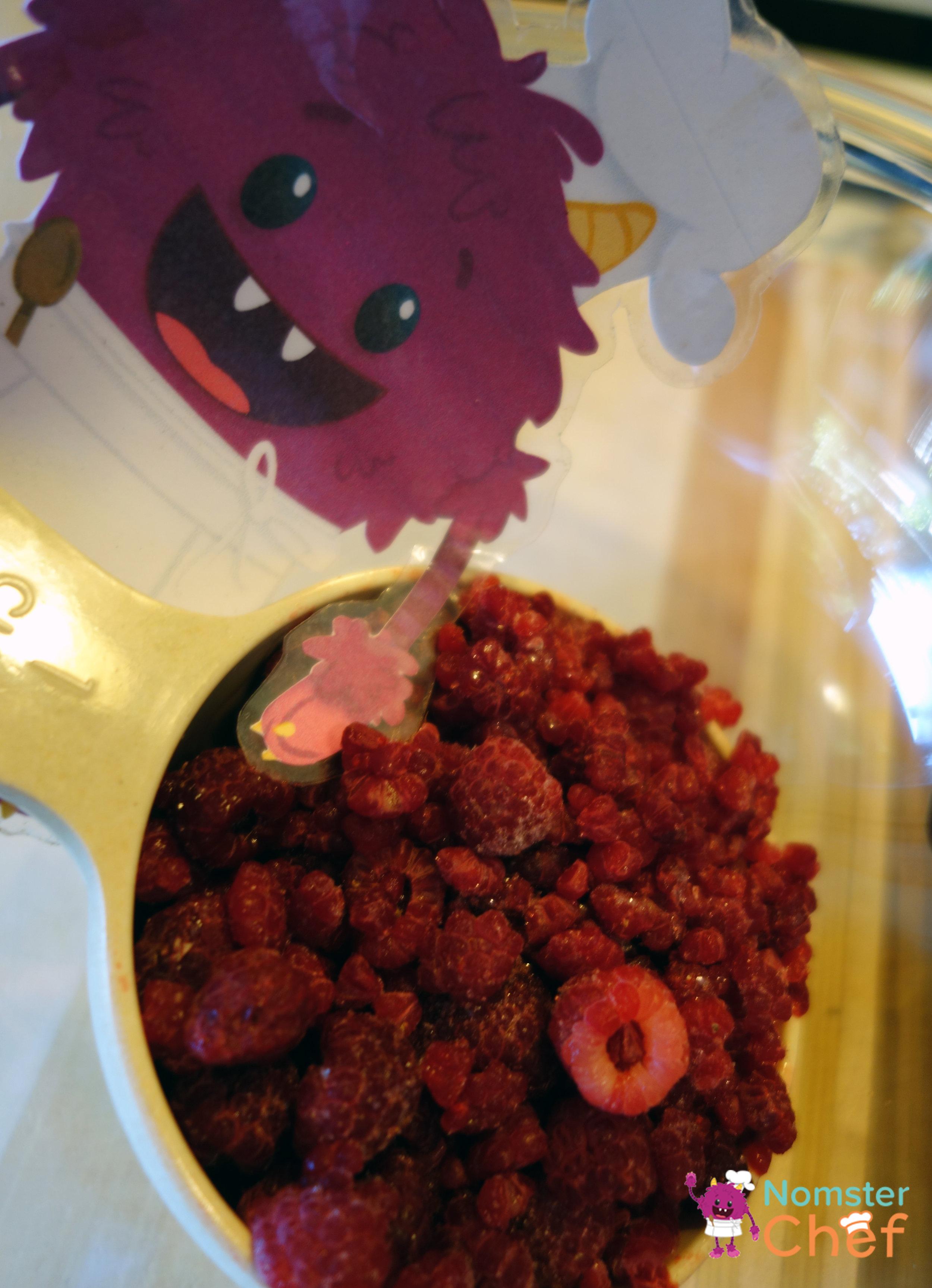 frozen raspberries - raspberry yogurt pops- Nomster Chef