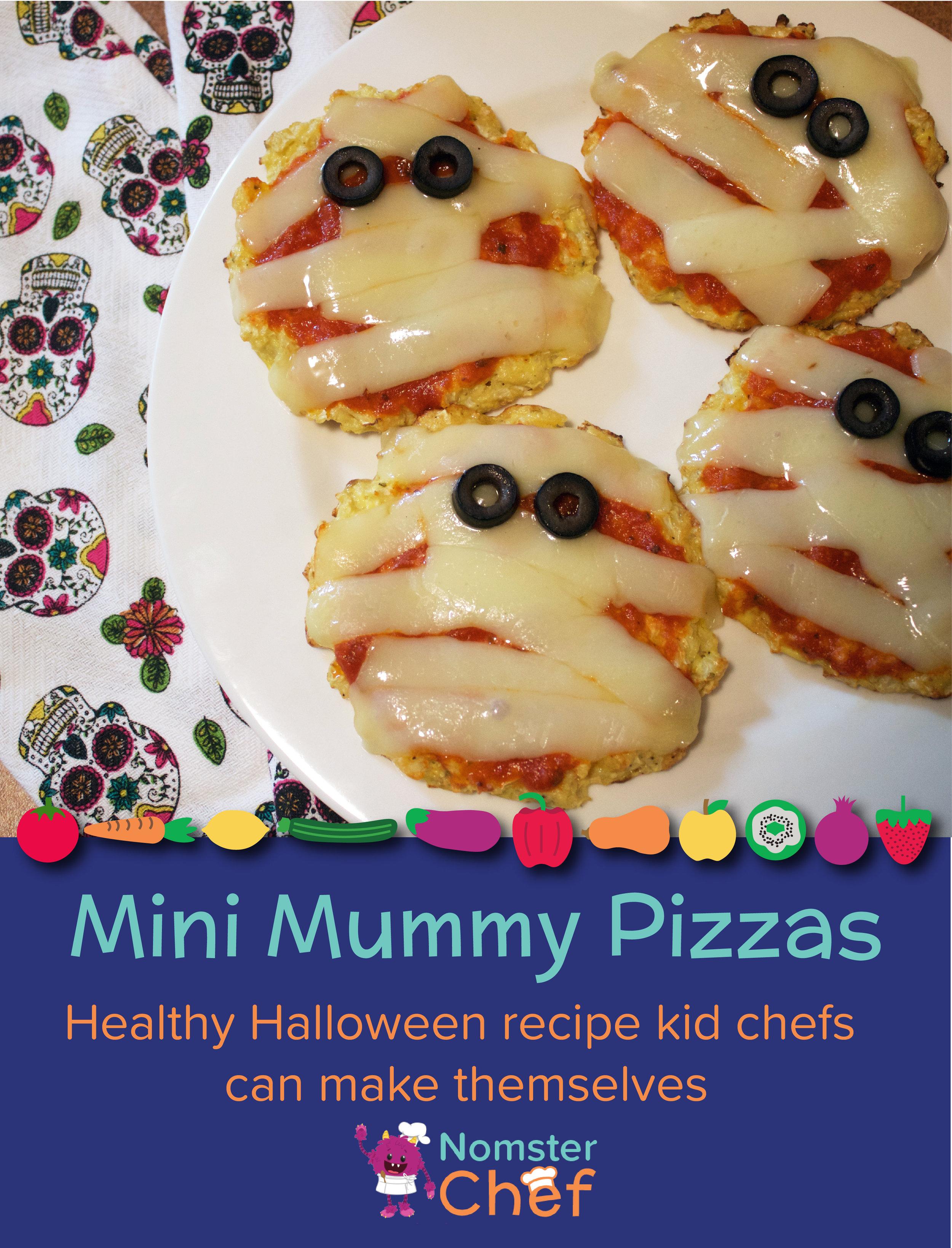 Halloween Recipe for Kids - Mini Mummy Pizzas