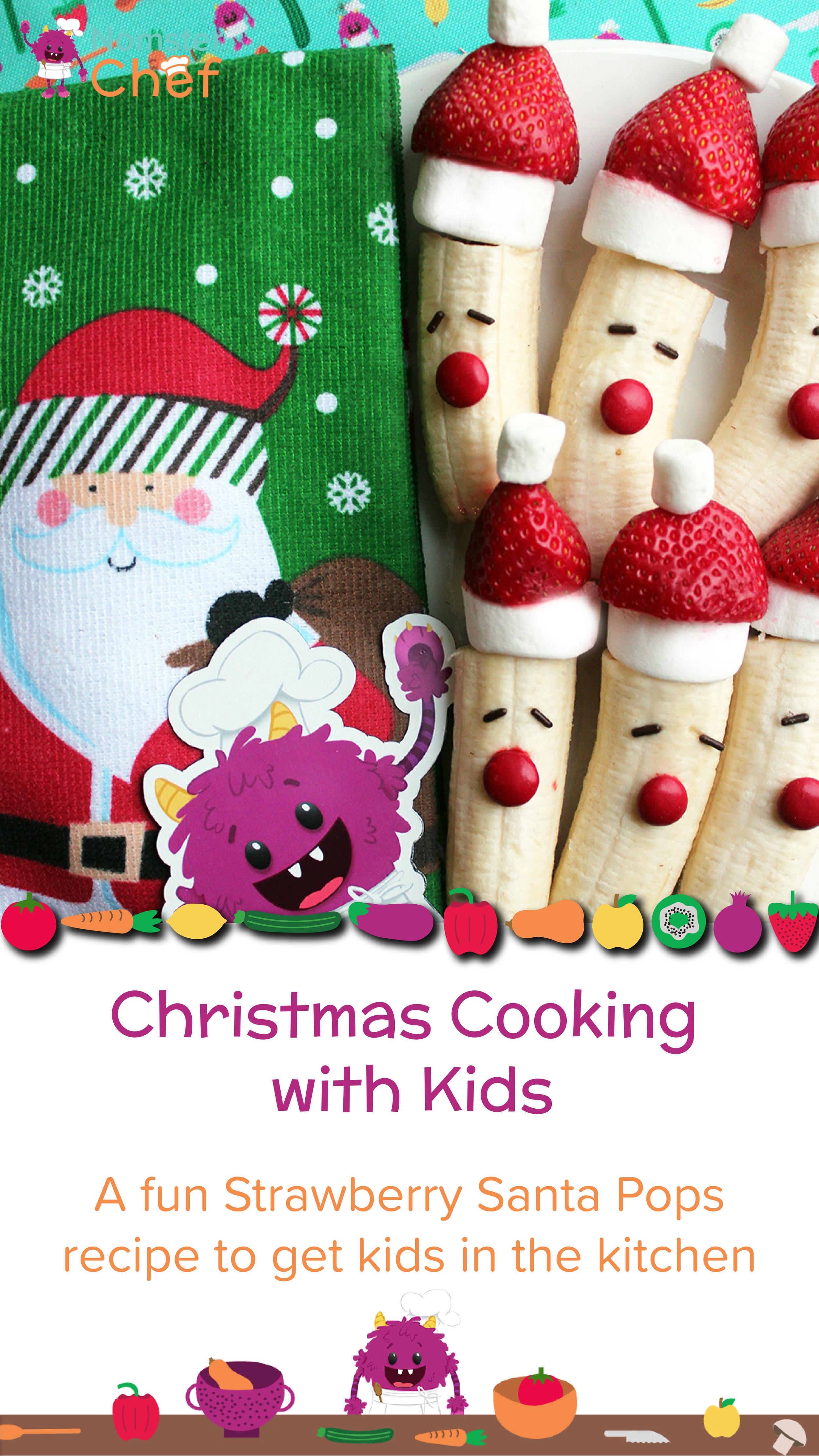 Christmas Cooking with Kids - Strawberry Santa Pops - Nomster Chef