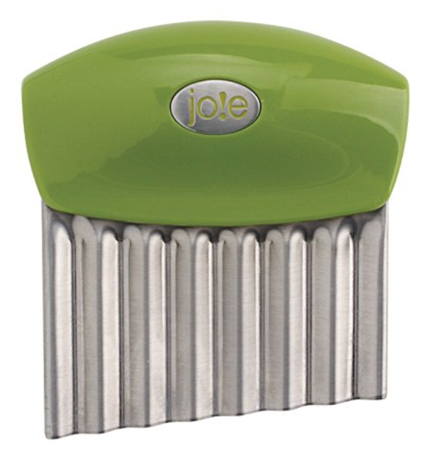Joie Wavy Cutter - This knife is perfect for little hands- even kids without expert motor skills find the handle easy to grasp. It's great for cutting softer vegges and fruit. Kids love it because of the wavy pattern it makes on the food!