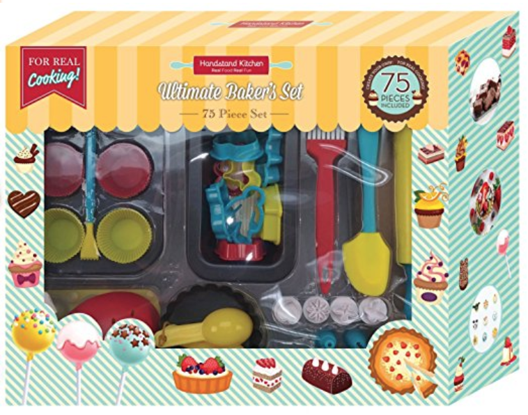 Handstand Kitchen Ultimate Baker's Set - If you want a tiny-things-obsessed kid to squeal with delight, gift him this set with 75 tiny kitchen tools!