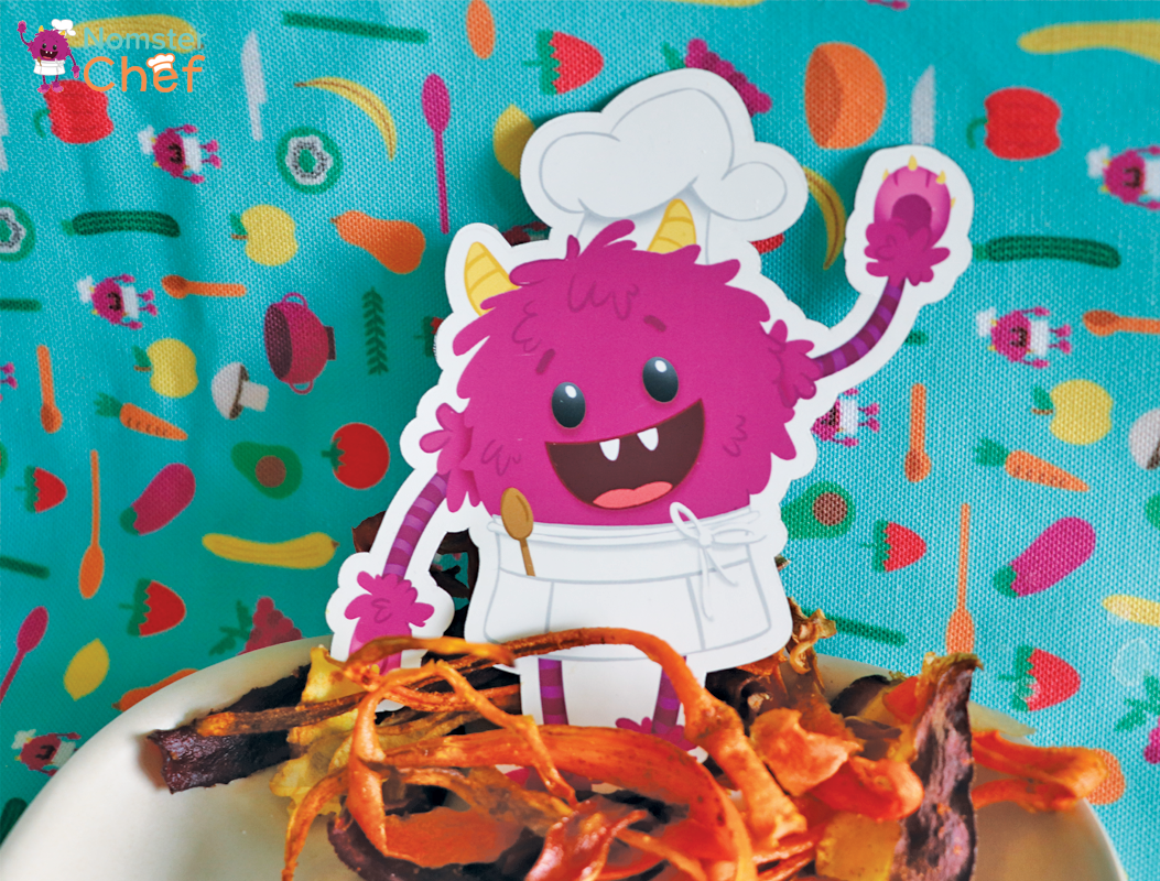 earth-day-rainbow-carrot-peel-chips-nomster-chef