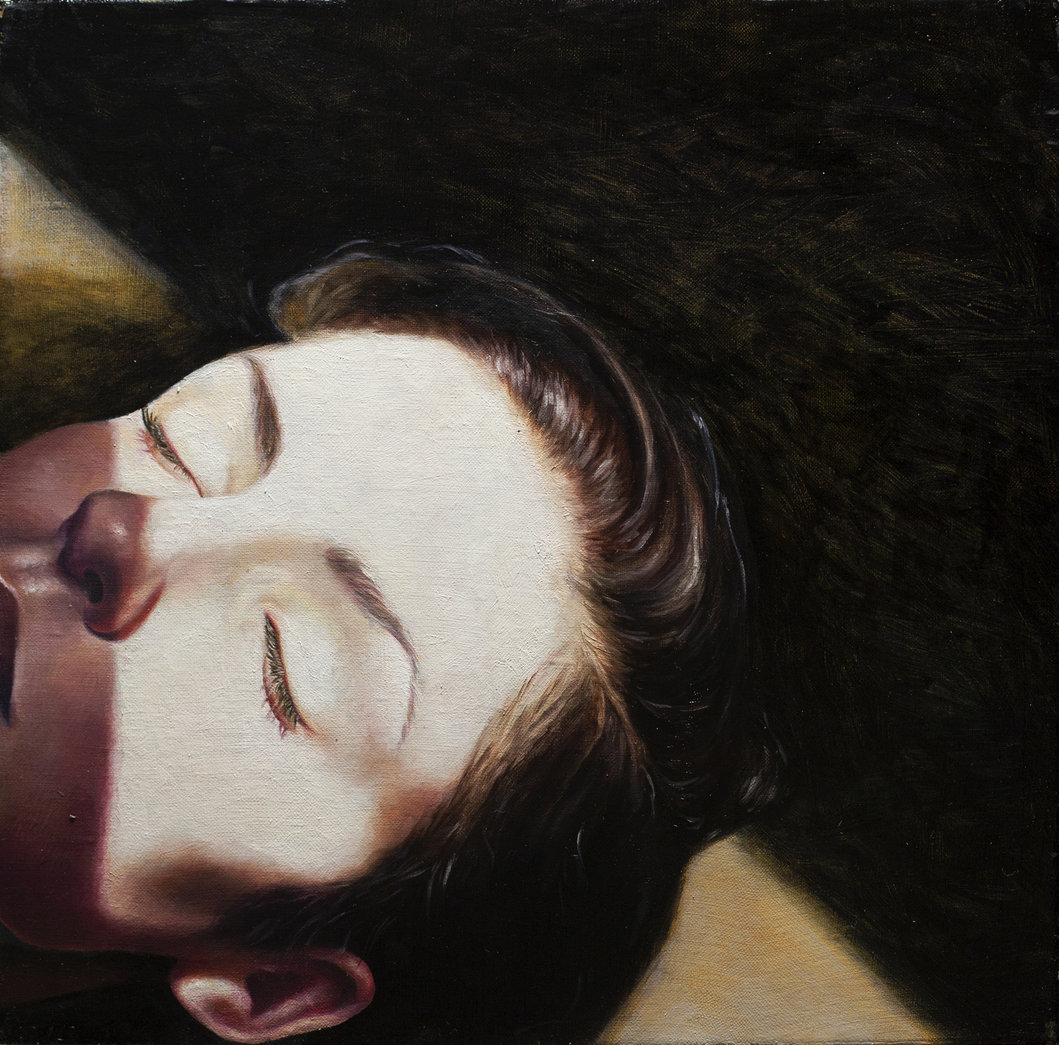 Daliah Ammar   Rest,  2015 Oil on linen 12 x 12""