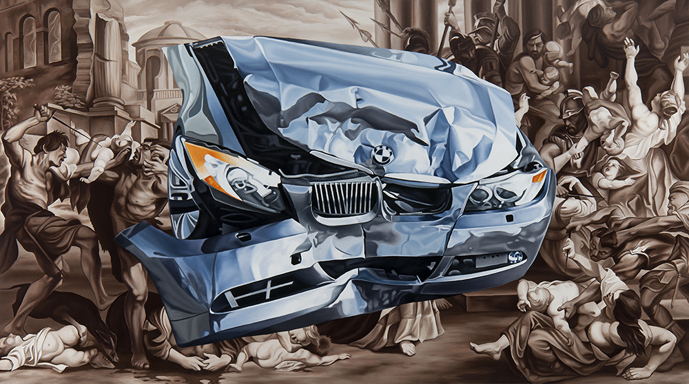 """CONTINGENCY MANAGEMENT,  2015 Oil on canvas  36"""" x 64""""    View Larger"""